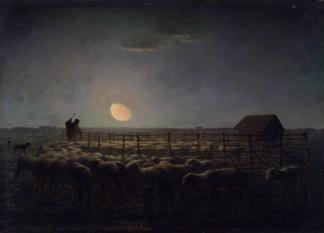 Millet - The Sheepfold, Moonlight - 1860