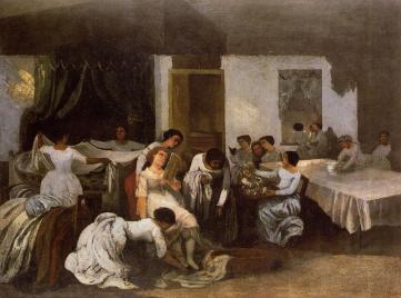 Courbet - Dressing the Dead Girl (Dressing the Bride) - 1855