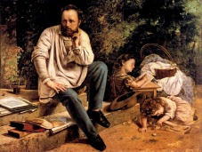 Courbet - Pierre Joseph Proudhon and his children in 1853 - 1853-1865