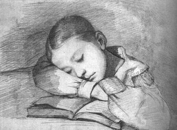 Courbet - Portrait of Juliette Courbet as a Sleeping Child - 1841