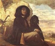Courbet - Self Portrait with Black Dog - 1841