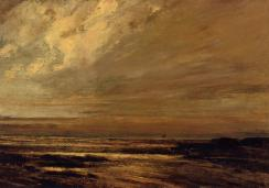 Courbet - The Beach at Trouville at Low Tide - 1865