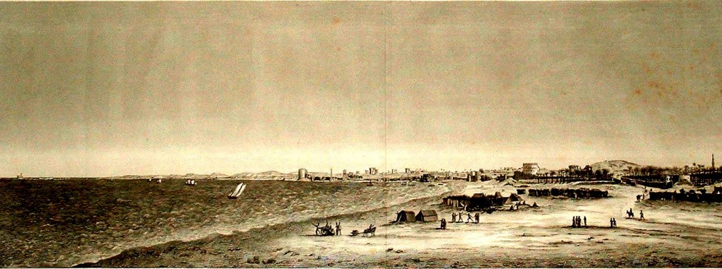 Description_de_l'Egypte,_Etat_Moderne_II,_Plate_97,_Panoramic_view_across_the_Great_Harbour_and_Kom_el-Dikka_from_the_parade_ground,_drawn_c.1798,_published_in_the_Panckoucke_edition_of_1821-9