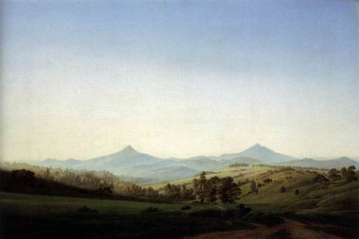 Friedrich - Bohemian Landscape with Mount Milleschauer - 1808