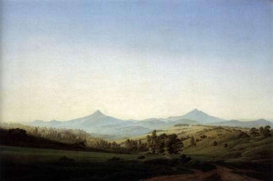 Friedrich - Bohemian Landscape with Mount Milleschauer - 1808